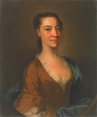 a portrait of catherine dacre, half-length, wearing a brown dress with a blue wrap by william aikman