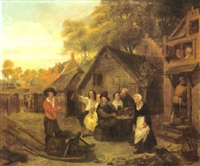 a courtyard scene with numerous figures merrymaking outside an inn by abraham teniers