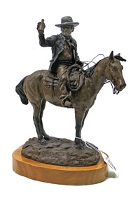 mounted cowboy with a bottle by jay contway