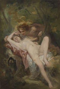 a nymph and a satyr in the woods by nicolas françois octave tassaert