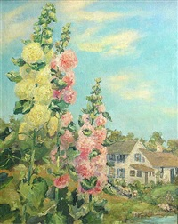 hollyhocks by julian joseph