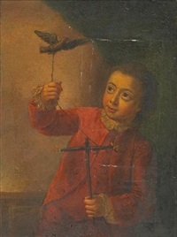 a boy with his pet bird by henry robert morland