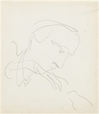 head of a man no. 3, two profiles and sketch for a mural, profile of a young man (double sided) (3 works) by charles demuth