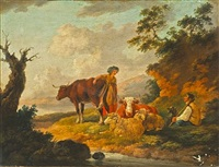 a milkmaid and a shepherd with his flock and cattle in an extensive landscape by peter la cave