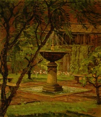 a fountain in a garden by anna lee stacey