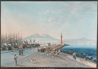 a view of the bay of naples with numerous figures in the foreground (+ gouache attributed to the same artist; pair) by giuseppe gustavo scoppa