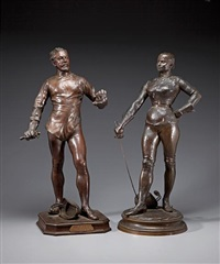 figures of fencers (2 works) by steiner