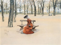 lesende dame auf parkbank in grossem park mit kahlen laubbäumen by karel relink
