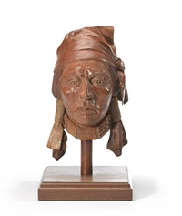 bust of an indian man and portrait of an indian man wearing a bird headdress (2 works) by paul pletka