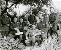 michail trachman with konstantin simonov and unknown russian officers by mikhail trachman