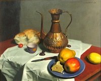 still life with fruit and cheese by jesse corsaut