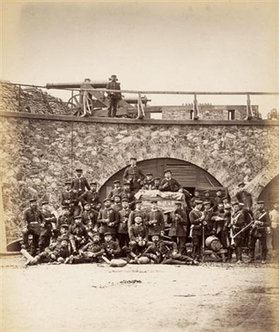 le fort d aubervilliers vue interieure des casemates avec un groupe de prussiens no 93 by alphonse liebert