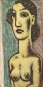 half-length portrait of a female nude by leo gestel