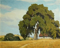 oak tree by a country home by joseph hastings bennett