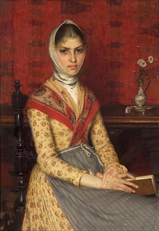 A Portrait Of A Young Woman Holding A Book With A Still