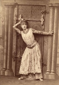 the actress sarah bernhard in her role as theodora (+ another as the duc de reichstadt in l'aiglon; 2 works) by paul nadar