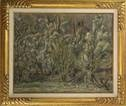 men working on a barnyard under trees, next to a pond by leo gestel