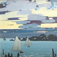 sailboats at sunset by nat little