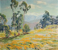evening in the high sierra (eucalyptus and flower landscape) by marie b. kendall