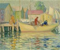 fishermen at harbor by christian von schneidau