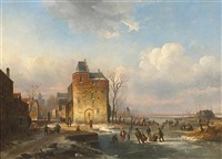 a view of a town with figures on a frozen waterway by louis smets