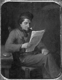seated gentleman reading by philippus anthonius alexander kanne