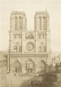 facade of notre dame, paris by charles nègre