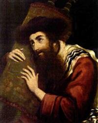 rabbi holding a torah scroll by moritz gottlieb