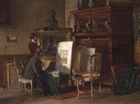 in the artist's studio by pierre (pieter) oyens