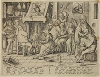 shrove tuesday. dutch kitchen with wafer-bakery (engraved by pieter van der heyden) by hieronymus bosch