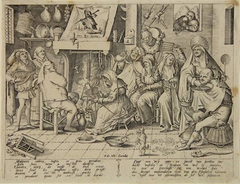 shrove tuesday dutch kitchen with wafer bakery engraved by pieter van der heyden by hieronymus bosch