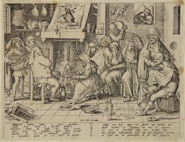 shrove tuesday. dutch kitchen with wafer-bakery (engraved by pieter van der heyden) by hieronymus bosch