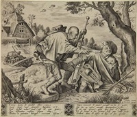 two blind men, who tumbled into a ditch (engraved by pieter van der heyden) by hieronymus bosch