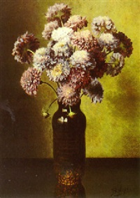 a still life with scabiosa in a vase by bernardus arps