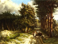 a treelined country road with a cowherd and his cattle by marinus adrianus koekkoek the younger
