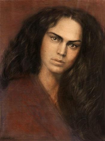 portrait of a dark haired woman in purple by steven assael