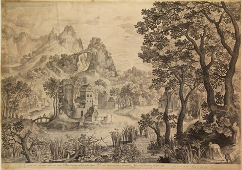 landscape with a snipe shooting after e coninxloo by nicolaes de bruyn