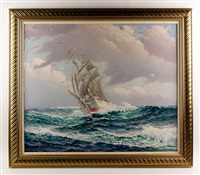 ship under sail by theodore victor carl valenkamph