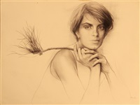 portrait of a woman holding a branch by steven assael