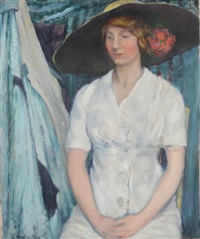 portrait of a woman in white dress by everett lloyd bryant
