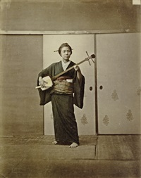 geisha playing the samisen by raimund von (baron) stillfried-rathenitz