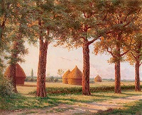 a tree lined road with haystacks in the background by eugene h. frey