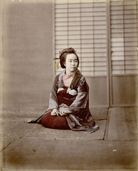 geisha with fan by raimund von (baron) stillfried-rathenitz