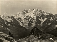 view of monte rosa, seen from col du monte moro. oversized by vittorio sella