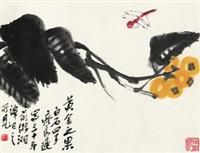 黄金之果 镜心 设色纸本 by qi liangchi