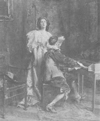 portrait of emma eames with the artist at spinet by julian russel story