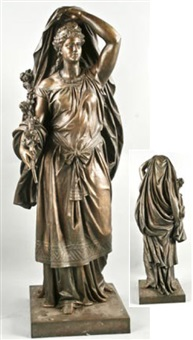 figur mit diadem in faltenreichem gewand (göttin flora?) by e. andresen