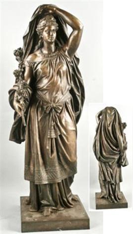 figur mit diadem in faltenreichem gewand göttin flora by e andresen