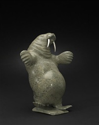 a dancing walrus by davie atchealak