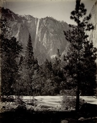 virgin tears, 3,000 feet, yosemite valley (+ the yosemite falls, 2,548 feet, yosemite valley, smllr.; 2 works) by isaiah west taber